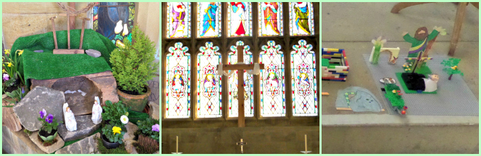 Three photographs - an Easter garden; an empty cross in front of stained glass and Easter children's drawings and lego
