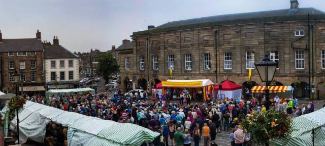 Photograph of Alnwick Marketplace during the music festival