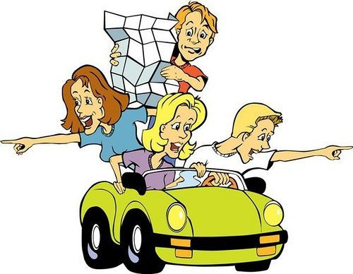 A cartoon car with four people in it, pointing in different directions and reading maps