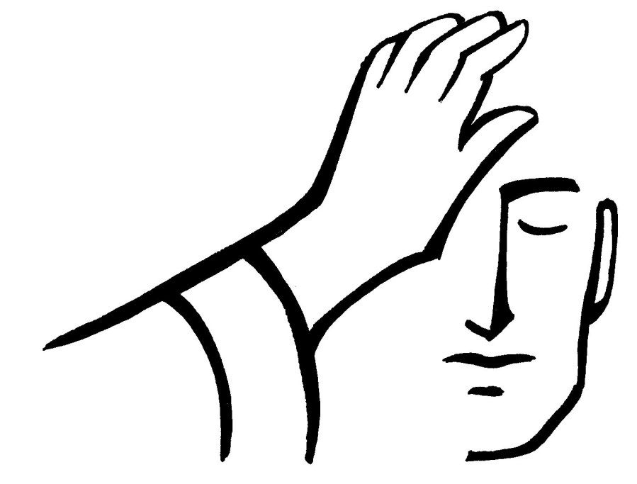 Simple line drawing of a hand on another person's forehead