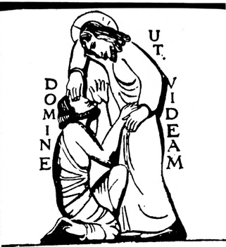 Clipart of Christ healing a blind man.