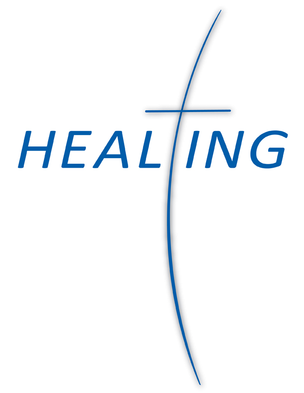 The word 'healing' with a cross
