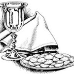 Black and white line drawing of a chalice and wafers