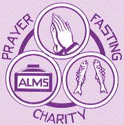 Graphic illustrating prayer, fasting and charity