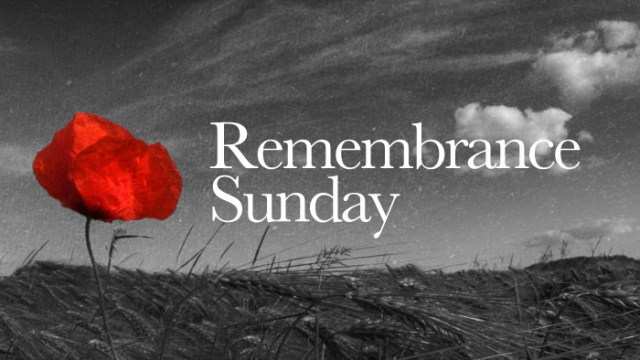 "A black and white landscape with a red poppy and the text ""Remembrance Sunday"""