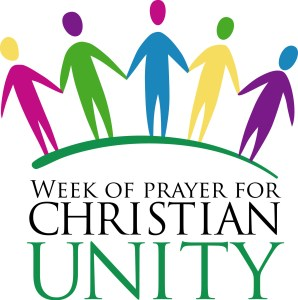 "A simple image of five people standing together above text saying ""Week of Prayer For Christian Unity"""