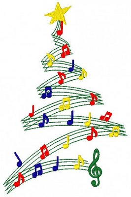A Christmas tree made from musical notes
