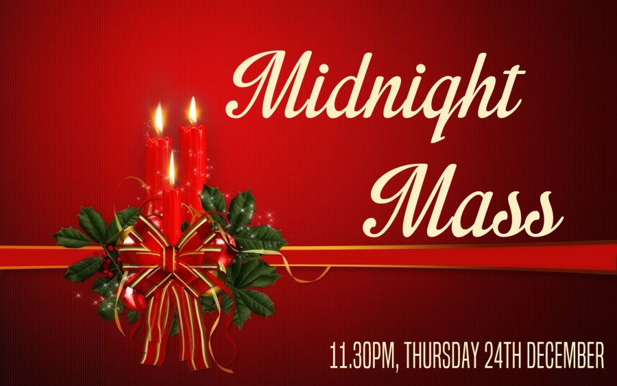 """Candles and holly on a red background with the words """"Midnight Mass"""""""