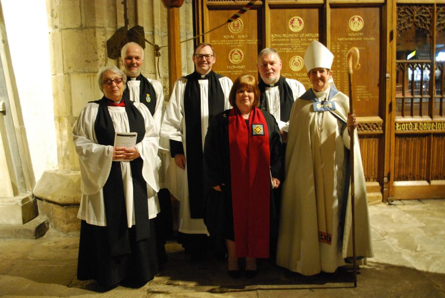 Rev'd Paul and the other new Canons with the Bishop, Right Rev'd Christine Harman