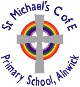 A rainbow clipart cross with the words St Michael's C of E Primary School, Alnwick'