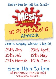 A poster for Messy Church with dates