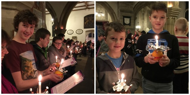 Two images, one of teens holding oranges with candles in them, and the other of two boys at a previous Christingle service.