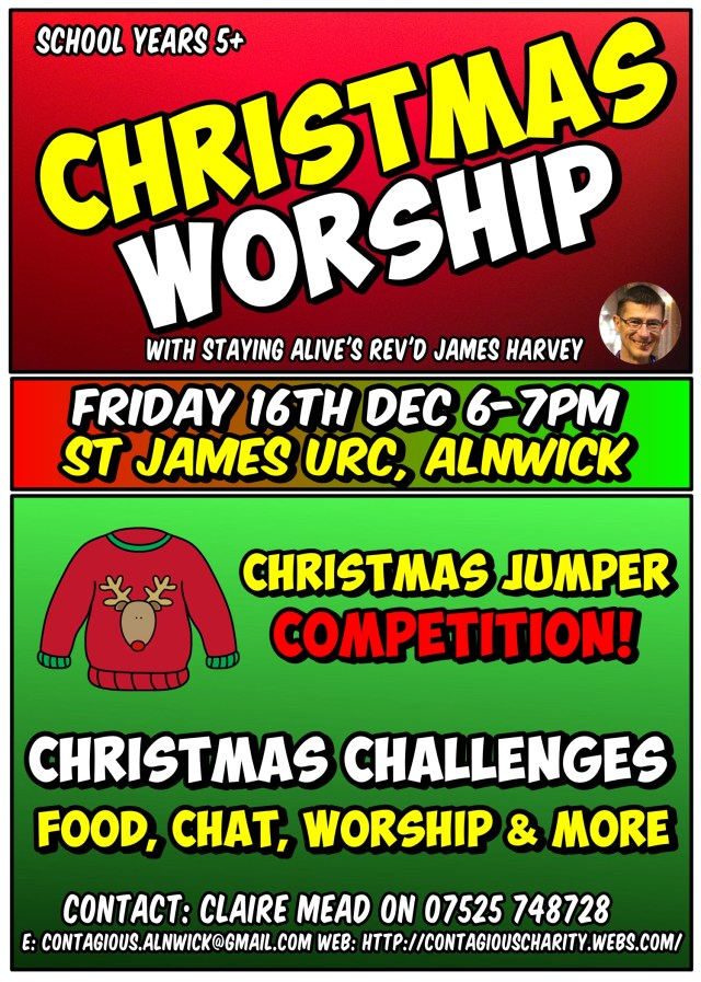 Brightly coloured poster highlighting the Christmas Youth Worship event on 16th December
