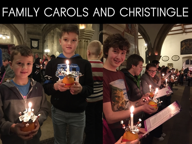 "A composite image of two boys and a young man holding Christingle oranges with the words ""Family Carols and Christingle"""