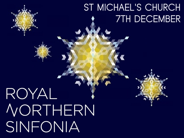 """A blue background with pixellated stars and the words """"St Michael's Church, 7th December, Royal Northern Sinfonia"""""""
