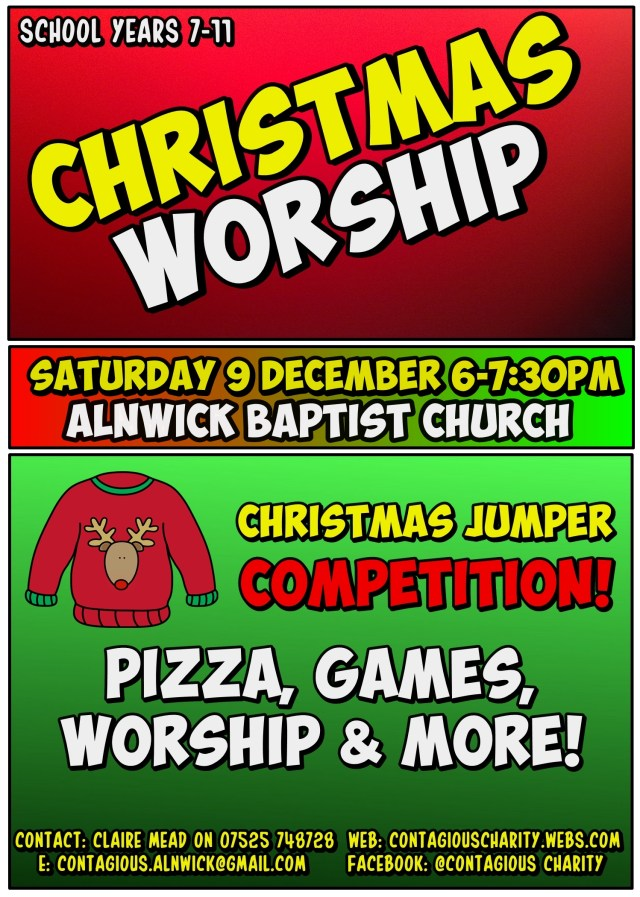 A colourful, cartoon style flyer for Contagious Youth Charity's Christmas Worship on Saturday 9th December