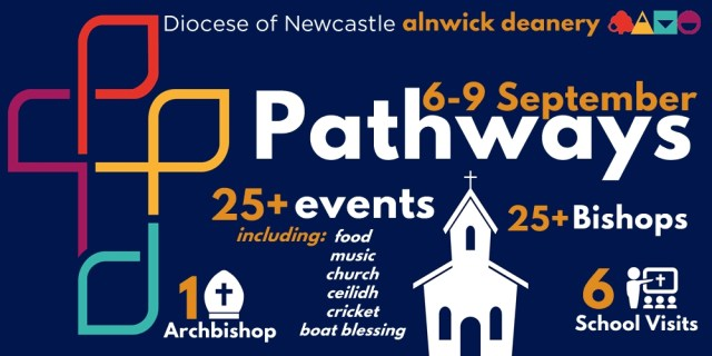 """An infographic-style banner with the text """"Diocese of Newcastle, Alnwick Deanery, 6-9 September Pathways, 25+ events including food, music, church, ceilidh, cricket, boat blessing,, 25+ Bishops, 1 Archbishop, 6 School visits"""""""