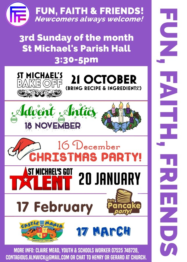 """A purple poster entitled """"Fun, Faith, Friends"""" with details of events, time, and location which are in plain text below"""