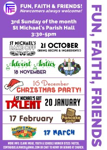 "A purple poster entitled ""Fun, Faith, Friends"" with details of events, time, and location which are in plain text below"