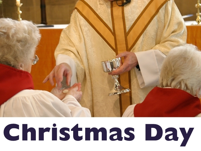 "An image of a priest administering the Eucharist, with the words ""Christmas Day"""