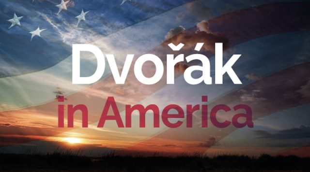 "An image of a sunset with overlaid text stating ""Dvorak in America"""
