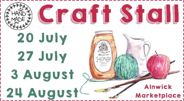An illustration of a bottle of honey, a jug, an apple, two paintbrushes and a ball of wool with the text Handmade Craft Stall: 20 July, 27 July, 3 August, 24 August Alnwick Marketplace""