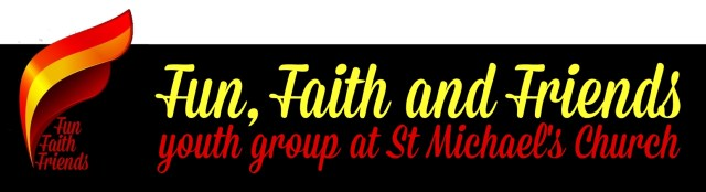"""A stylised flame logo with the text """"Fun, Faith and Friends youth group at St Michael's Church"""""""