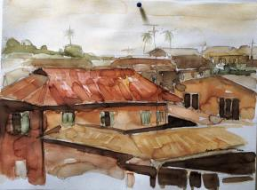 Rustic-Roof--Water-Color-on-Paper