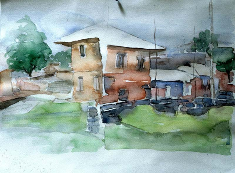 Two-House-Water-Color-on-Paper