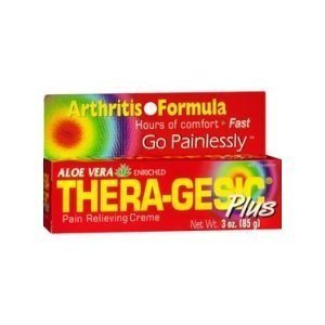 Thera-Gesic Plus Aloe Vera Pain Relieving Cream 3 oz tube (Pack of 2) by Thera-Gesic