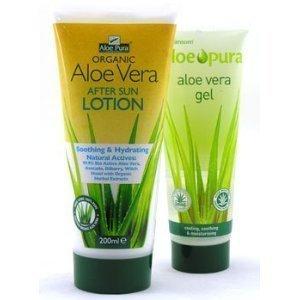 Aloe pura Organic Aloe Vera After de Sun (200ml Loción con gratuita 100ml Aloe Vera Gel)