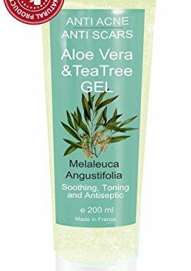 Gel de Aloe Vera con Árbol de Té 200 ml – S.O.S. Piel Seca y Dañada, Quemaduras – Unisex Hidratante y Purificante