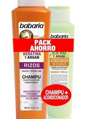 babaria Queratina & Argan rizos Volumen Champú 400ml & Aloe Vera & Argan pelo Acondicionador 300ml en oferta