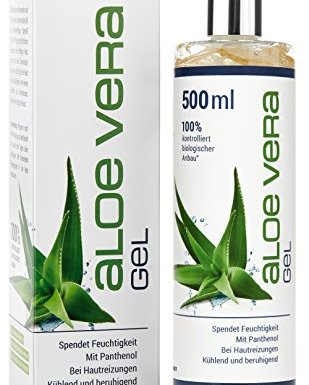 Gel de Aloe Vera 500ml – 100% de cultivos biológicos controlados – para el cuidado e hidratación de la piel – loción corporal después del bronceado o quemaduras por el sol- probado dermatológicamente – calidad de marca alemana de GloryFeel en oferta