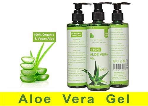 100% Organic and Vegan Aloe Vera Gel for Dry, sunburned, and irritated Skin and Hair – De Premium Quality – -by Secret Essentials