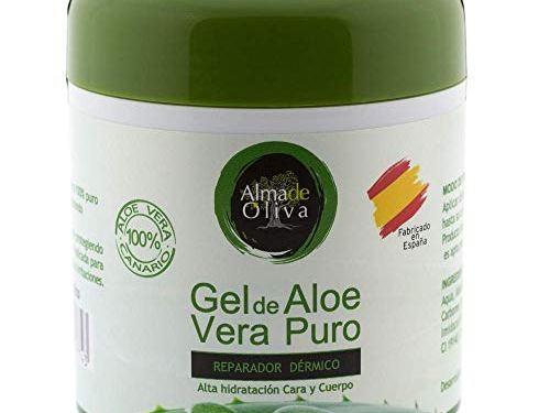 Gel Aloe vera puro 100% de Canarias hidratante natural 500 ml para la piel irritada por el depilado y afeitado/Quemaduras solares y picadura de insectos. Uso Facial y Corporal