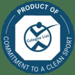 Label de la liste de Cologne signifiant : Produit sur l'engagement pour un sport propre