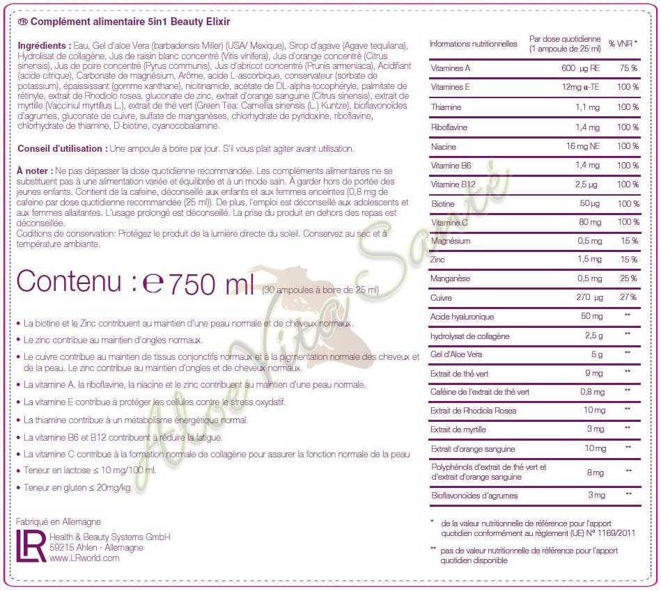 Fiches informations nutritionnelles du shot nutricosmétique LR 5in1 Beauty Elixir