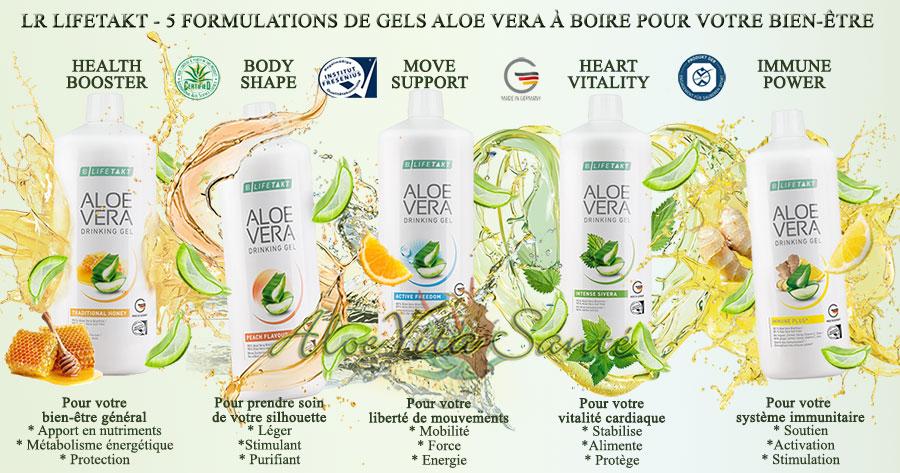 LR LIFETAKT - 5 formulations différentes de Gels Aloe Vera à boire pour votre bien-être