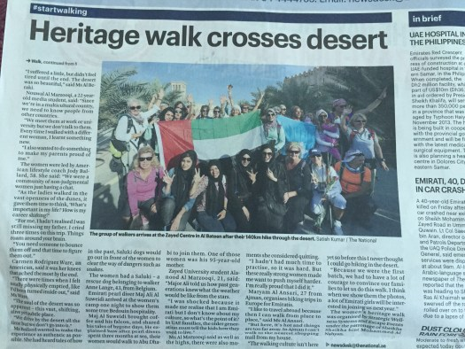 Our Women's Heritage Walk made front page headlines in The National newspaper!!