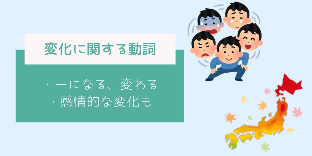 変化に関する第二文型の動詞イメージ