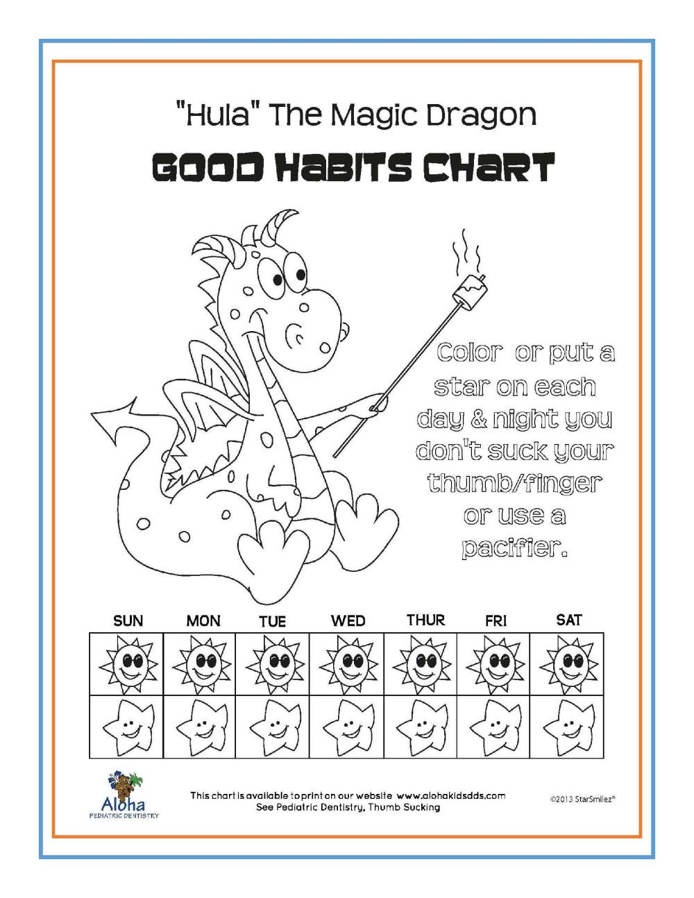 medium resolution of we ve developed several good habits charts for your use click here for a pdf version of hula the magic dragon aloha bear or fish as shown below