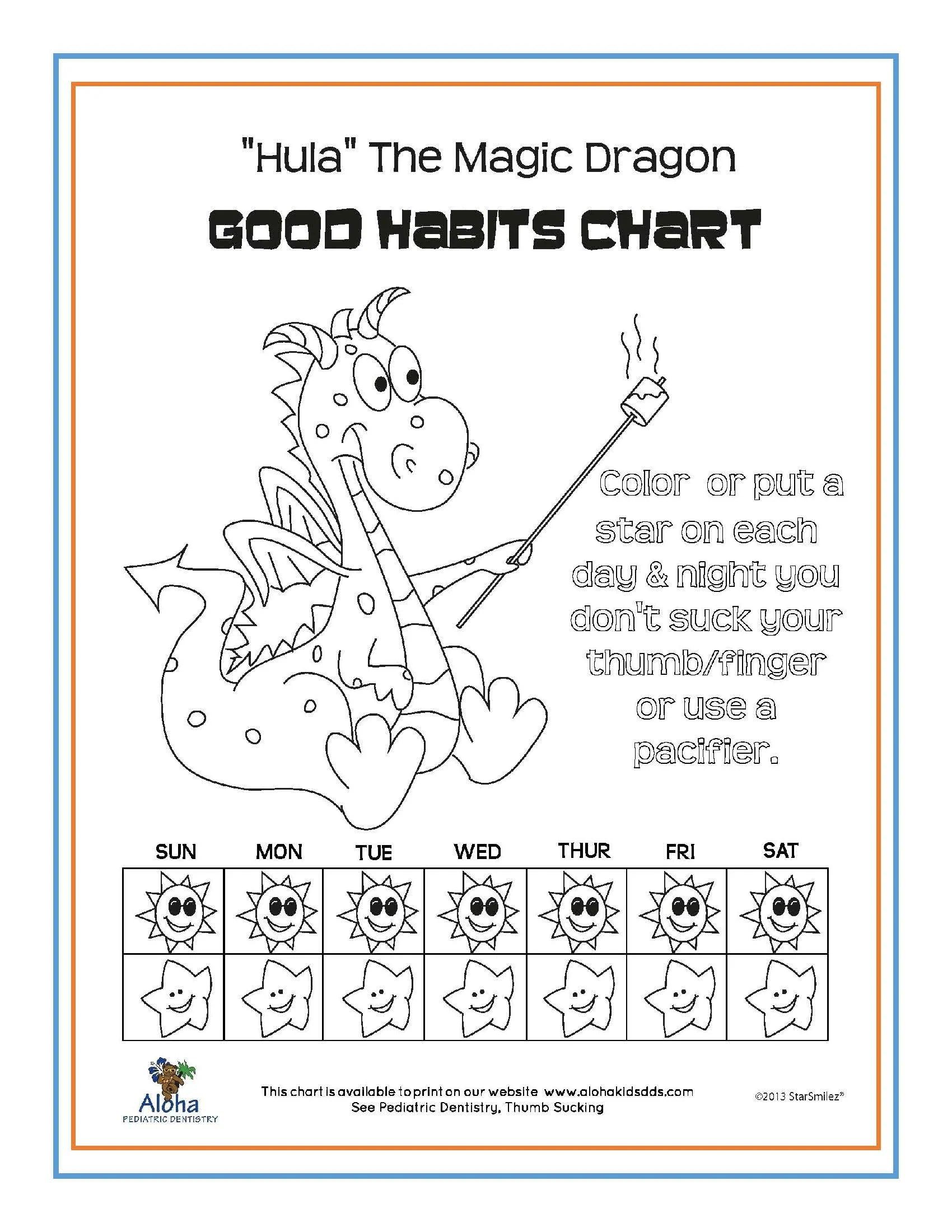 hight resolution of we ve developed several good habits charts for your use click here for a pdf version of hula the magic dragon aloha bear or fish as shown below