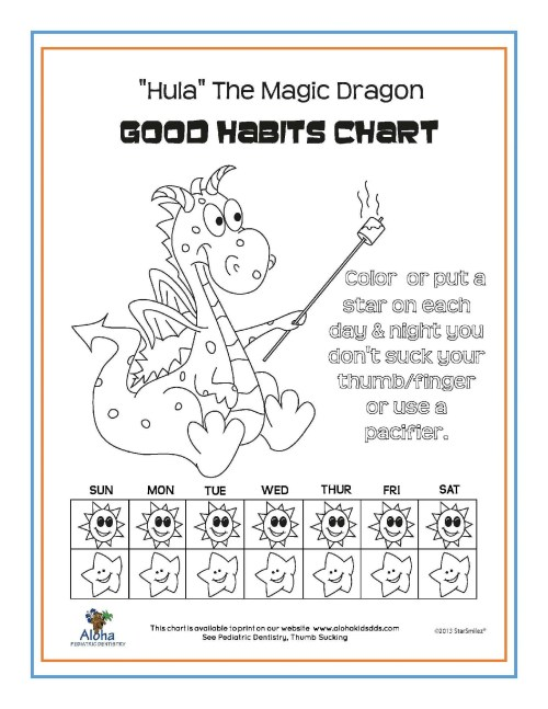 small resolution of we ve developed several good habits charts for your use click here for a pdf version of hula the magic dragon aloha bear or fish as shown below