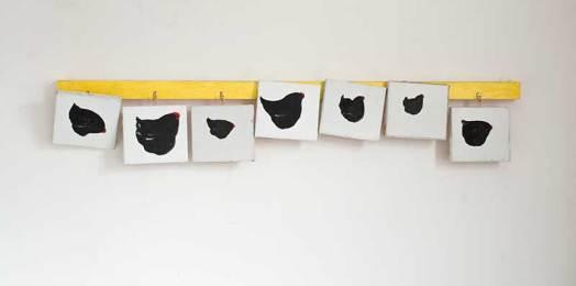 Garderobe / Coat Rack, Öl auf Leinwand, 7 Bilder 18 x 20 cm