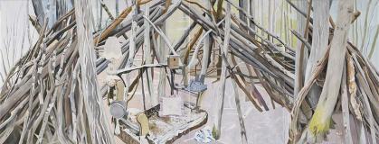 Möblierung der Wildnis / Furnishing the Wilderness, Öl auf Leinwand, 290 x 760 cm