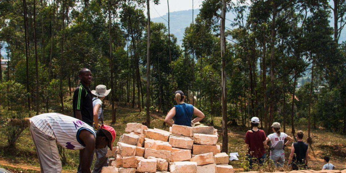 Piles of block bricks for street children home building