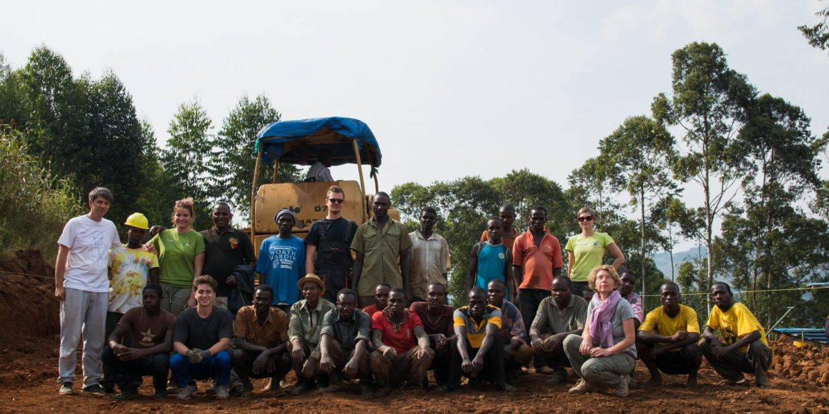 Slovenian team on site with Uganda workers