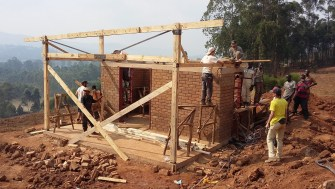 Roof trusses went up on the kitchen today