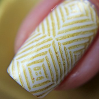 Glossy stamped over white